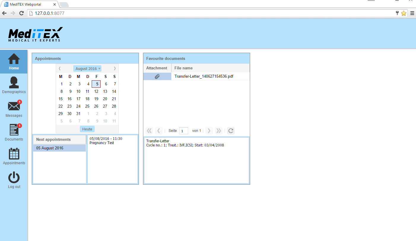 MedITEX IVF Portal Home - Desktopversion